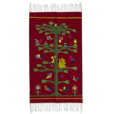 Handwoven Red Zapotec Rug With Bird Motifs 2 X 3