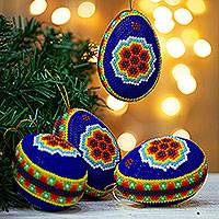 Beaded ornaments 'Sacred Peyote' (set of 4) - Four Authentic Huichol Art Beadwork Ornaments