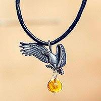Men's amber pendant necklace, 'Sacred Eagle' - Eagle Theme Leather Cord Sterling Silver Necklace with Amber