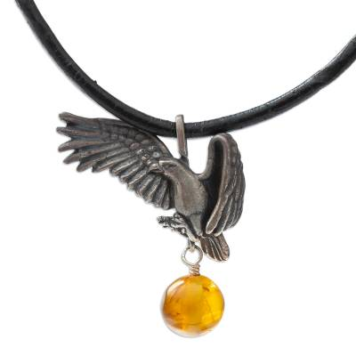 Eagle Theme Leather Cord Sterling Silver Necklace with Amber