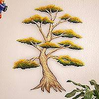 Steel wall art, 'Sunny Bonsai' - Handcrafted Mexico Steel Wall Sculpture of a Tree