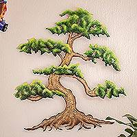 Steel wall art, 'Verdant Bonsai' - Artisan Crafted Steel Wall Sculpture of a Tree