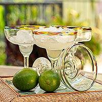 Blown glass margarita glasses, 'Confetti Kiss' (set of 6)