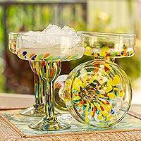Blown glass margarita glasses, 'Confetti Festival' (set of 6) - Set of 6 Multicolor Hand Blown Glass Margarita Glasses
