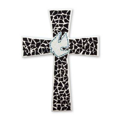 Artisan Crafted Black Glass Mosaic Wall Cross from Mexico