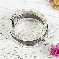 Sterling silver band ring, Trio of Textures