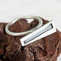 Sterling silver cocktail ring, 'Modernism' - Asymmetrical Modern Handcrafted Silver Cocktail Ring
