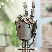 Auto part sculpture, 'Rustic Robot Hand'