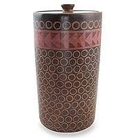 Ceramic jar, 'Patamban Geometry' - Mexico Handcrafted Ceramic Decorative Jar and Lid
