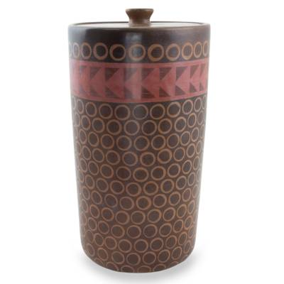 Mexico Handcrafted Ceramic Decorative Jar and Lid