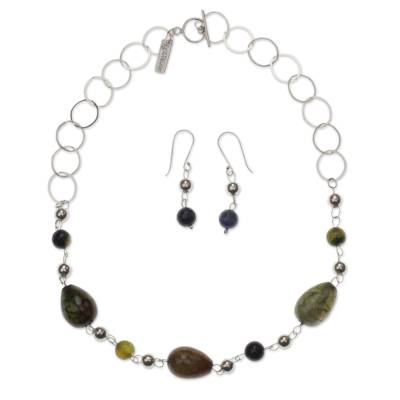 Handcrafted Modern Sterling Silver and Agate Jewelry Set