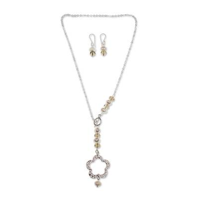 Handcrafted Cultured Pearl and Mexican Silver Jewelry Set
