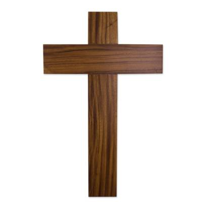 Minimalist Hand Carved Hardwood Cross for the Wall