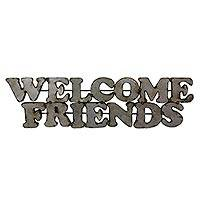 Steel welcome sign, 'Welcome Friends' - Weathered Metal Wall Welcome Sign Handmade in Mexico