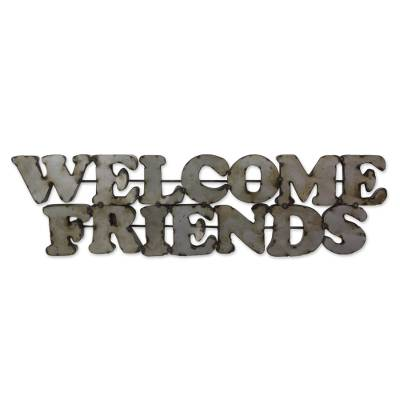 Weathered Metal Wall Welcome Sign Handmade in Mexico