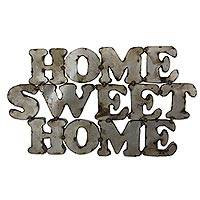 Steel sign, 'Home Sweet Home' - Rustic Steel Wall Sign Handmade in Mexico