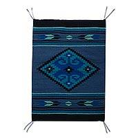 Zapotec wool rug, 'Blue Arrow' (2x3.5) - Handwoven Authentic Zapotec Rug in Blue (2 x 3.5)