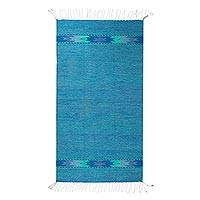 Zapotec wool rug, 'Blue Nostalgia' (2.5x6.5) - Artisan Woven Authentic Zapotec Blue Wool Area Rug 2.5 x 6.5