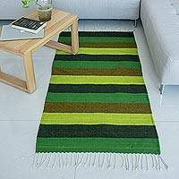 Zapotec wool rug, 'Seasons in Green' (2.5x5) - Striped Green Artisan Woven Authentic Wool Zapotec Area Rug