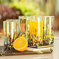 Blown glass highball glasses, 'Confetti Festival' (set of 6)