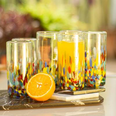 Blown glass highball glasses, 'Confetti Festival' (set of 6) - Multicolor Hand Blown Glass Highball Glasses (Set of 6)