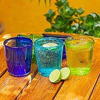 Blown glass juice glasses, 'Two by Two' (set of 6) - Hand Blown Glass Juice Glasses in 3 Colors (Set of 6)