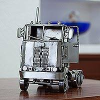 Recycled metal sculpture, 'Rustic Truck Cab' - Recycled Metal Rustic Long Haul Truck Sculpture from Mexico