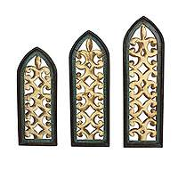 Metal and wood wall panels, 'Gothic Romanticism' (set of 3) - Hand Crafted Sheet Metal and Pinewood Wall Panels (Set of 3)