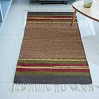 Zapotec wool rug, 'Tlacolula Earth' (2.5x5) - Earth Tone Handwoven 2.5 x 5 Authentic Zapotec Rug