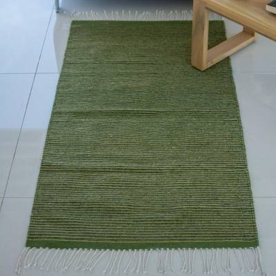 Zapotec wool rug, 'Oaxaca Hillside' (2.5x5) - Mexican Handwoven Green 2.5 x 5 Authentic Zapotec Rug