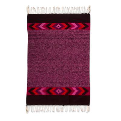 Zapotec wool rug, 'Cuilapan Colors' (4x6.5) - Handwoven 4 x 6.5 Authentic Zapotec Rug in Purples and Reds