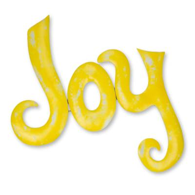 Iron wall sculpture, 'Celebrate Joy' - Handcrafted Yellow Iron Wall Sign Sculpture from Mexico