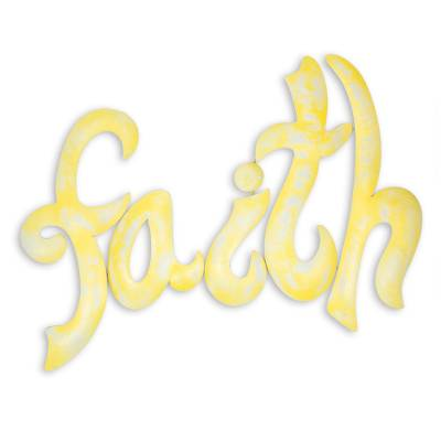 Iron wall sculpture, 'Faith' - Yellow Iron Handcrafted Inspirational Faith Wall Sign