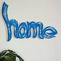 Iron wall sculpture, 'Home' - Handcrafted Blue Home Wall Sculpture Sign from Mexico