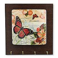 Wood key holder, 'Monarch Greetings' - Rustic Handcrafted Wood Key Rack with Butterflies