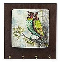 Wood key holder, 'Happy Owl' - Colorful Owl Theme Handcrafted Key Rack from Mexico