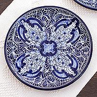 Ceramic luncheon plates, 'Puebla Kaleidoscope' (pair) - Artisan Crafted Blue Ceramic Luncheon Plates (Pair)