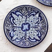 Ceramic dessert plates, 'Puebla Kaleidoscope' (pair) - Artisan Crafted Blue Ceramic Dessert Plates (Pair)