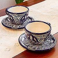 Ceramic cup and saucer set, 'Puebla Kaleidoscope' - Mayolica Talavera Ceramic Blue Floral Cup and Saucer
