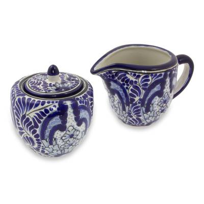 Ceramic sugar and creamer set, 'Puebla Kaleidoscope' - Artisan Crafted Talavera Ceramic Blue Sugar and Creamer