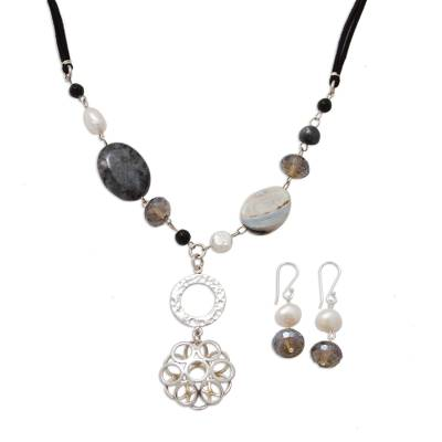 Sterling Silver Pearl Jewelry Set with Labradorite and Agate