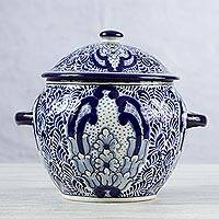 Ceramic tureen, 'Puebla Kaleidoscope' - Handcrafted Blue Talavera Style Ceramic Soup Tureen