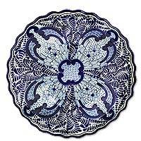 Ceramic serving bowl, 'Blue Sunflower' - Ceramic 13-Inch Serving Bowl in Blue and White