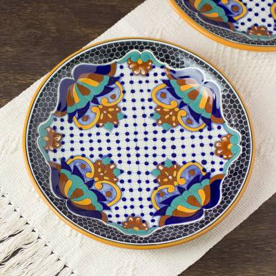 Ceramic dinner plates, 'Zacatlan Flowers' (pair) - Artisan Crafted Ceramic 12-inch Dinner Plates (Pair)