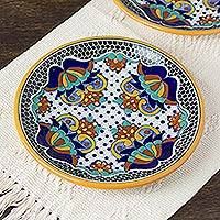 Ceramic luncheon plates, 'Zacatlan Flowers' (pair) - Artisan Crafted 10-inch Ceramic Luncheon Plates (Pair)
