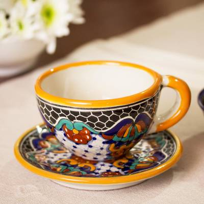 Ceramic cup and saucer set, Zacatlan Flowers