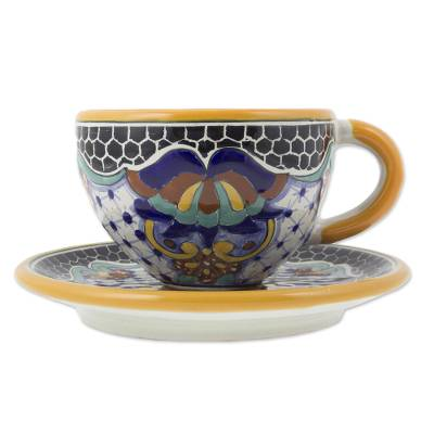 Ceramic cup and saucer set, 'Zacatlan Flowers' - Hand Crafted Talavera Style 8-oz Cup and Saucer
