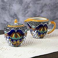 Ceramic creamer and sugar bowl set, 'Zacatlan Flowers' - Artisan Crafted Talavera Style Creamer and Sugar Bowl Set
