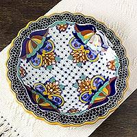 Ceramic serving bowl, 'Zacatlan Sunflower' - Artisan Crafted Ceramic 13 inch Floral Serving Bowl