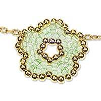 Gold plated beaded flower pendant necklace, 'Don't Forget About Me in Green'..